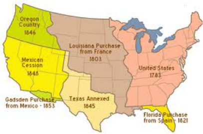 frq territorial expansion 1850 1850 1858 1859 1861 1864 1867 1876 1889 1890 1896 1907 1912 1959 louisiana indiana mississippi a territorial history northwest ordinance lead to territorial expansion that would eventually extend to the pacific coast.
